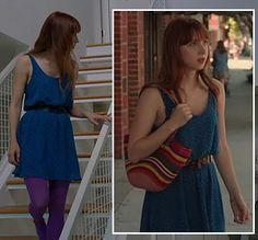Blue dress, purple tights and a striped tote bag- want to recreate this! Purple Tights, Purple Dress, Blue Dresses, Summer Dresses, Ruby Sparks, Fashion Outfits, Womens Fashion, Hosiery, Cute Outfits