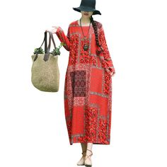 Women Cotton Linen Dress Vintage Floral Print O Neck Long Sleeve robe pull femme hiver Boho Loose Long Maxi Dresses Female 2018 Dress Vintage, Vintage Floral, Maxi Dresses, Summer Dresses, Cotton Linen, Floral Prints, Plus Size, Female, Long Sleeve