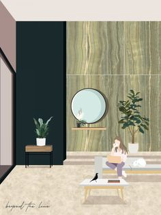 Negli ultimi anni sono cambiate molto le illustrazioni dei progetti, passando dallo schizzo ai render iperrealisti. Una corrente differente vede unirsi le due modalità di disegno in collage suggestivi e unici. Ne è un esempio questo progetto dello studio Vista en Planta, i quali utilizzano alcuni materiali pregiati, come le pietre naturali, per creare un interno dagli elementi distintivi. Barcelona Pavilion, Design A Space, Glasgow School Of Art, Creative Illustration, International Artist, White Marble, Creative Director, Contemporary Design, Collage