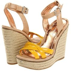 BCBGeneration Frankee Women's Wedge Shoes, Yellow ($69) ❤ liked on Polyvore featuring shoes, sandals, yellow, ankle strap platform sandals, ankle strap sandals, yellow wedge sandals, platform shoes and platform sandals