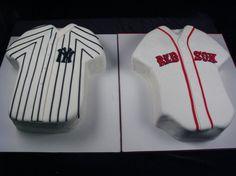 Red Sox V. Yankees, carved cakes, sports, baseball, New York, Boston, Duel, Rivalry, Fondant, Shirts, Jerseys