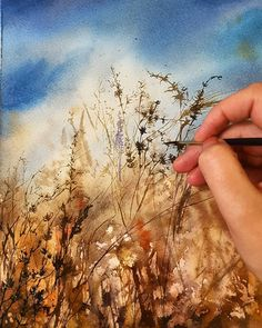 244 Likes, 9 Kommentare – ♦ Marianna Pshenichnayа ♦ ( auf … - Aquarell Watercolor Landscape Paintings, Watercolor Trees, Watercolor Artists, Abstract Watercolor, Watercolor And Ink, Abstract Landscape, Watercolour Painting, Painting & Drawing, Watercolours