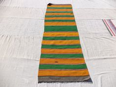 "Green And Yellow Striped Anatolian Kilim Rug Runner,7,6""x2,6"" Feet 228x76 Cm Home Decor Turkish Handwoven Kilim rug Runner."