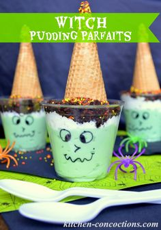 Kitchen Concoctions: Witch Snack Pack Pudding Parfaits #SnackPackMixins #shop Snack Pack Pudding, Pudding Cups, Pudding Desserts, Pink Halloween, Halloween Witches, Halloween Recipe, Halloween Season, Kitchen Recipes, Snack Recipes