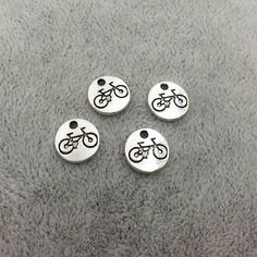 Vintage Ancient Silver Zinc Alloy Round Tag bike Charms For Jewelry Pendant with hole Making Wholesale 10mm