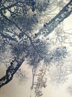 Japanese pine trees. Ink on silk. Detail from a pair of screens. Private Collection.
