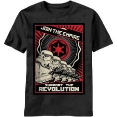 "I love this ""Join the Empire Support the Revolution"" Star Wars tee, with a cool graphic image in the style of vintage Russian propaganda poster art."