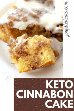 Low Carb Cinnamon Roll Cake has a sweet cinnamon filling, tender cake, & cream cheese glaze. You won't believe it's keto and gluten-free!  This easy keto cake will feed your desires for something sweet this fall. This easy cinnamon roll cake has all the things you love about classic cinnamon rolls, the frosting, filling, and cinnamon flavor minus the hours of work AND the carbs. This easy recipe is low carb, keto, gluten free, grain free, sugar free, and Trim Healthy Mama friendly.