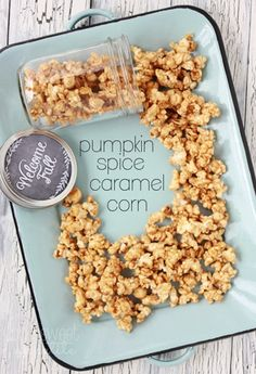 pumpkin-spice-caramel-corn.  ** Next time, use 2 full bags of popped popcorn so not so sweet ** otherwise...Deeelish!!!