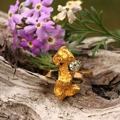 Alaskan Gold Nuggets and 4 Diamonds Ring, Gold Nugget Jewelry - Custom Alaskan Gold Nugget Rings - www.goldrushfinejewelry.com