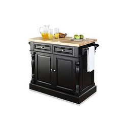 Store your kitchen essentials in style with the Crosley butcher block top kitchen island. This kitchen cart brings both beauty and convenience to your kitchen. from BBB