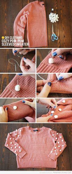#DIY pom pom sweater. Make it red, and it's ready for a Fancy Nancy Splendiferous Christmas Party
