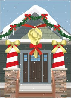 City w bow glossy white 653 real estate business and real estate lock in those clients by sending them the realty greeting card that features a decorated home with a huge hanging key in front with a red bow reheart Image collections