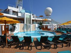 A key part of the Carnival Sunshine's makeover was the addition of a three-deck-high, adults-only Serenity lounge at the front of the ship that includes a circular pool.