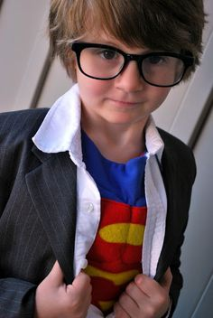 Clark Kent costume.  Cute.