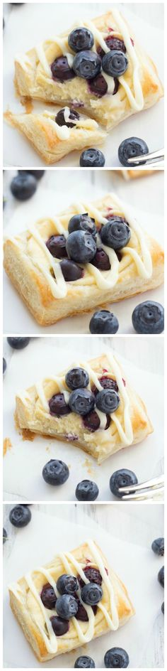 These Blueberry Cream Cheese Danish are so simple to make! Greek yogurt lightens up the sweet cream filling.