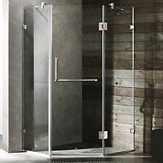 Clear and Brushed Nickel Frameless Neo-Angle Shower Enclosure 36 inch by 36 inch 3/8 inch glass