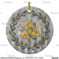 Heirloom Sicilian Trinacria Silver Stripe Ceramic Ornament