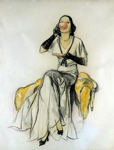 Lady drinking tea - Illustration by John LaGatta for the cover of The American Magazine, April 1931