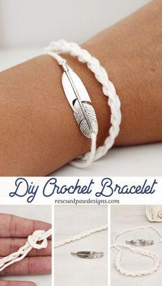 DIY Crochet Bracelet Sample by Rescued Paw Designs – Learn to crochet a braceletCompletely lovely bracelet – Bracelet Crochet Bracelet Tutorial. Instead of bracelet…DIY Macrame Rhinestone Bracelet Crochet Jewelry Patterns, Crochet Flower Patterns, Crochet Accessories, Bracelet Patterns, Bracelet Designs, Diy Crochet Jewelry, Diy Bracelets Crochet, Crochet Designs, Braclets Diy