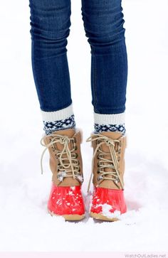 Red and brown snow shoes
