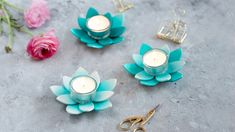 DIY: Succulent tealight holder made of FIMO Easy Polymer Clay, Diy Fimo, Fimo Clay, Polymer Clay Jewelry, Diy Jewelry Rings, Beaded Jewelry, Diy Earrings Studs, Ard Buffet, Diy Jewelry Inspiration