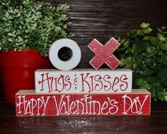 Valentines Decor  Hugs & Kisses XOXO Wood Block by BlocksOfLove1, $15.99