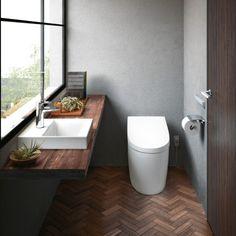 Pin on インテリア Bathroom Toilets, Washroom, Ideal Bathrooms, Restroom Design, Toilet Room, Natural Interior, Toilet Design, Japanese House, Kitchen Styling