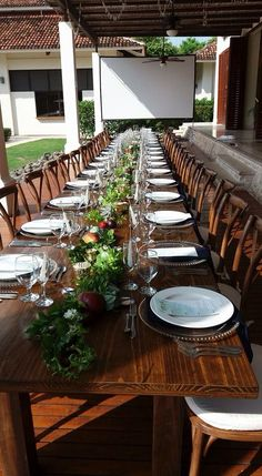 Rustic wood rental table and chairs