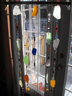 Sea glass and bead suncatcher by chandellrobar on Etsy