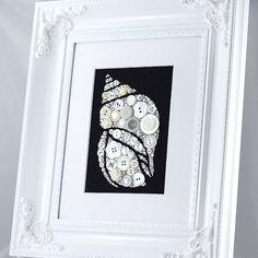 Framed Button Art - White Seashell - Coastal Home Decor, Seashell Art, Button Seashell, Wall Decor, Seashell Wall Hanging, Button Artwork