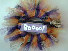 Hand Crafted Halloween Tulle Ribbon  BOOOOOOOOO!!!! Broom Wreath