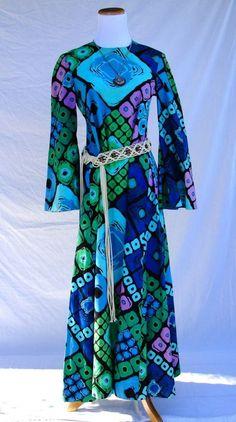 Vintagw 60s 70s Ken Scott Bold Psychedelic Hippie Boho Caftan Maxi Dress XS/S/M