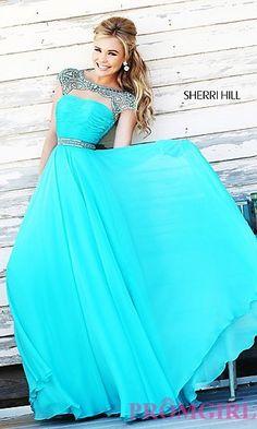 High Neck Floor Length Sherri Hill Dress at PromGirl.com