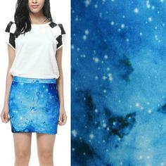 Women-Blue-Cloud-Digital-Galaxy-Starry-Space-Print-Stretch-Mini-Skirt-A-line-M-L