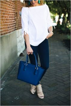 Classic White Off the Shoulder Tie Sleeve Top * J.Crew Tassel Earrings * J.McLaughlin Top * Jeans and a White Shirt * Navy Dagne Dover