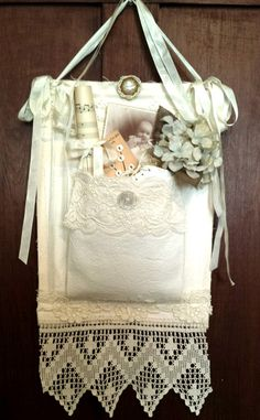 Gorgeous Fabric Treasure Pocket Adorned with Antique Lace and filled with treasures from the past (C)