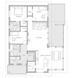 house design small-house-ch47 10 | 1464 sq ft, 3 bed 2 bath. Love the pantry.