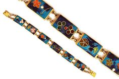 Vintage Link Chain BRACELET blue cloisonne gold by boboCOLLECTED