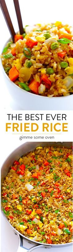 The BEST Fried Rice This recipe tastes even better than the restaurant version, plus it's quick and easy to make! Feel free to add chicken, shrimp or pork if you'd like. Asian Recipes, Great Recipes, Favorite Recipes, Oriental Recipes, Oriental Food, Chinese Food Recipes, Chinese Rice Recipe, Asian Foods, Homemade Chinese Food