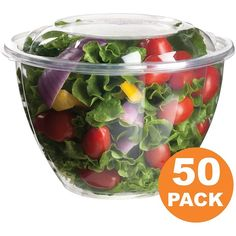 Clear Plastic Bowl With Dome Lids for Salads Fruits Parfaits, 48oz,... (29 AUD) ❤ liked on Polyvore featuring home, kitchen & dining, serveware, plastic fruit bowl, fruit bowl, plastic serveware, salad bowl and plastic bowl