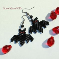 Beaded bat earrings