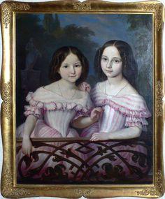Exquisite Biedermeier style Portrait of Two Sisters