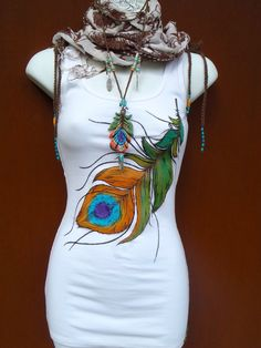 TANK white PEACOCK FEATHER top tank top hand painted clothes bohemian clothing cotton tank top Women tank via Etsy