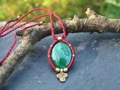 Malachite macrame necklace, Macrame stone pendant, Bohemian micromacrame necklace, Malachite healing jewelry