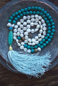 Tassel necklace   Blue boho necklace   Country chic jewelry   Long turquoise necklace   Beachy style    White pearl beaded hippie necklace