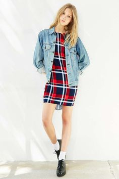 Native Youth Long-Sleeve Plaid Dress - Urban Outfitters