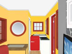 Kitchen and hall area of a small living space with yellow walls and red and burnt orange accents. items from SMEG, Samsung & IKEA. Designed by Glenn River Cascanette.  http://www.roomsketcher.com/  #floorplan #spaces #lifestyle