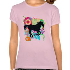 Girls Galloping Horse Silhouette T Shirt