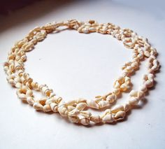Vintage Very Long Shell Necklace - Ivory-Colored Shells - Beach Necklace - Boho Off-White Summer Necklace - Double for Shorter Necklace